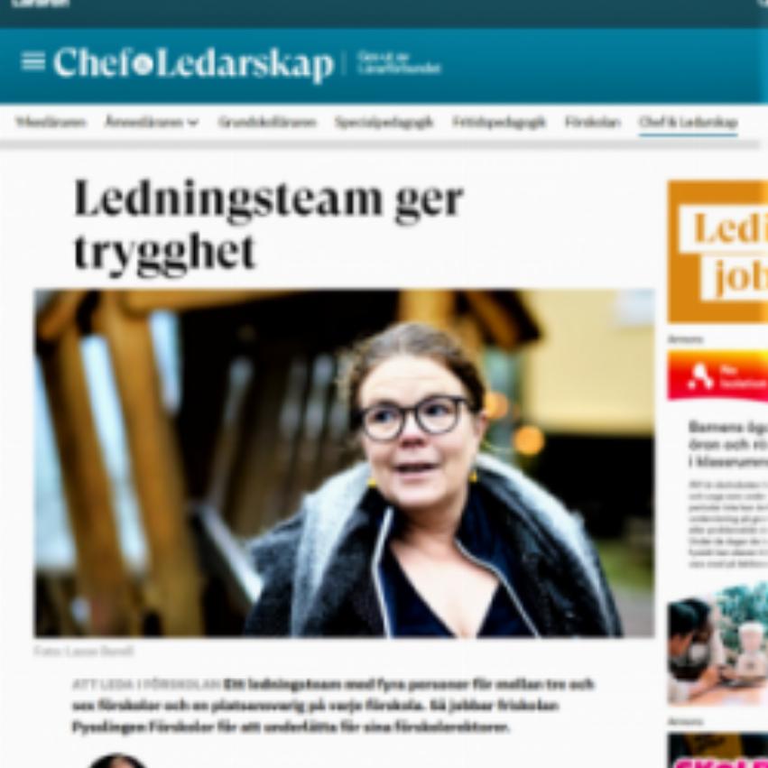 bild av artikel från läraren.se med intervju med Sara Jiveskog