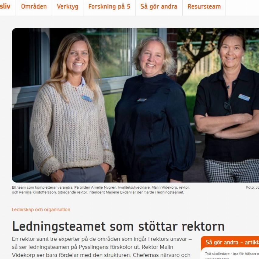 Skärmdump med bild av ett ledningsteam från Pysslingen Förskolor ur artikel från suntarbetsliv