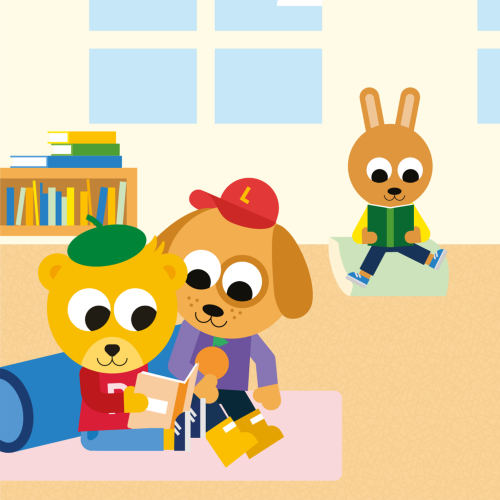 Pyss och Ling läser och vilar på förskolan